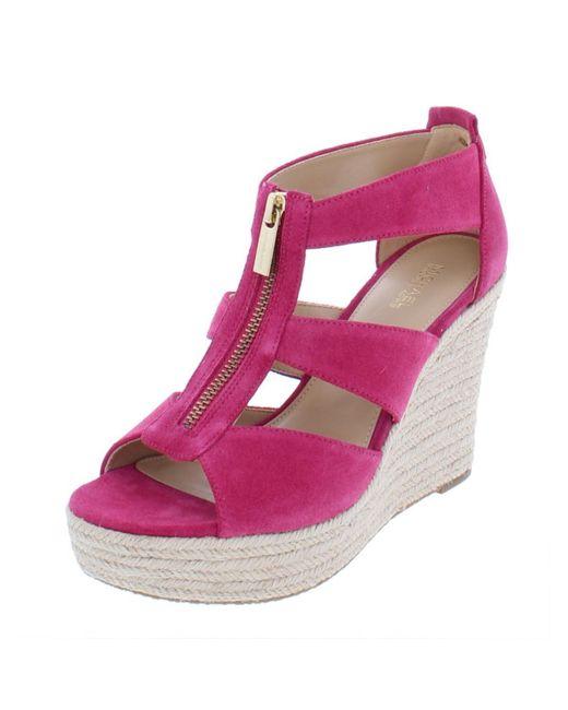 f3b995afcd92 MICHAEL Michael Kors - Pink Womens Damita Suede Platforms Espadrilles - Lyst  ...