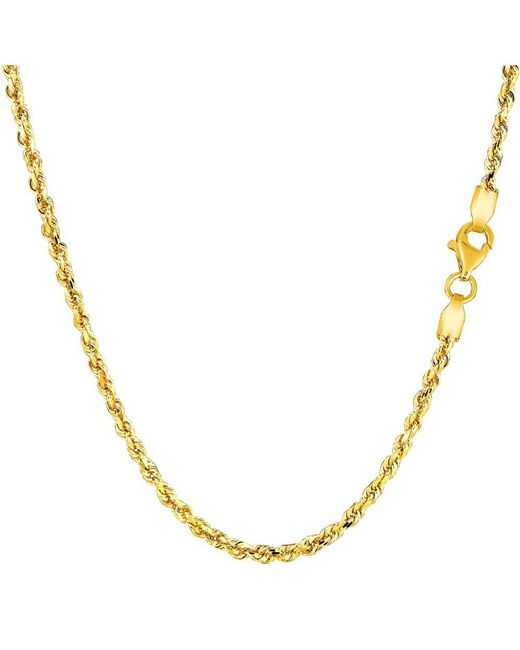 JewelryAffairs - 14k Yellow Gold Solid Diamond Cut Royal Rope Chain Necklace, 2.25mm, 16 Inch - Lyst