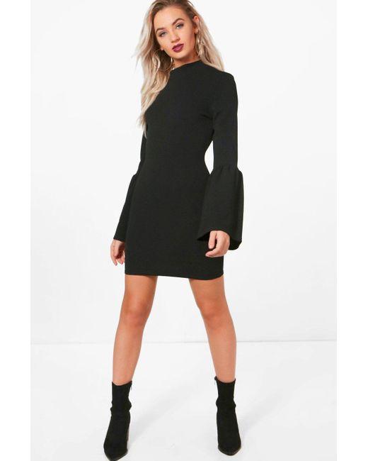 Boohoo | Black Pia High Neck Crepe Flare Sleeve Shift Dress | Lyst