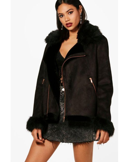 Boohoo - Black Jessica Boutique Faux Fur Collar And Cuff Aviator Jacket - Lyst