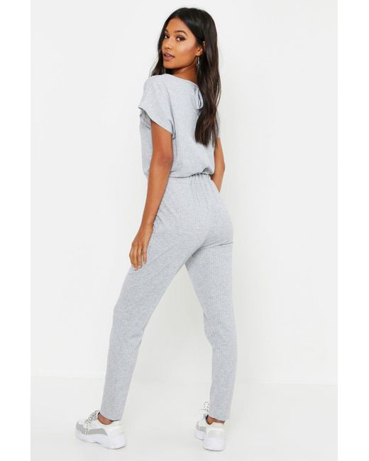 ae88d0cf614 ... Boohoo - Gray Ribbed Slouch Tie Jumpsuit - Lyst ...