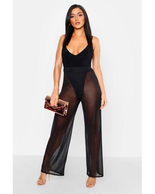 584c1973928c Boohoo - Black Sheer Mesh Wide Leg Trousers - Lyst ...