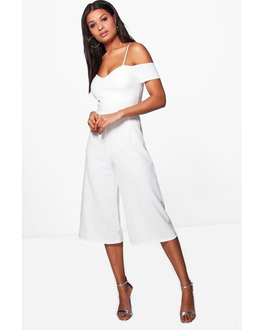 898de49d087 Boohoo - White Off The Shoulder Culotte Jumpsuit - Lyst ...
