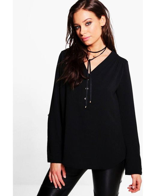 Boohoo | Black Hailey Button Front V Neck Top | Lyst