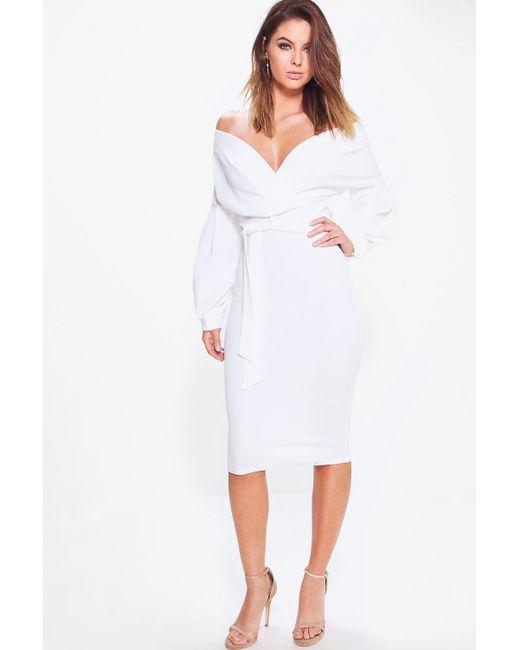 Boohoo - White Nina Off The Shoulder Wrap Midi Bodycon Dress - Lyst