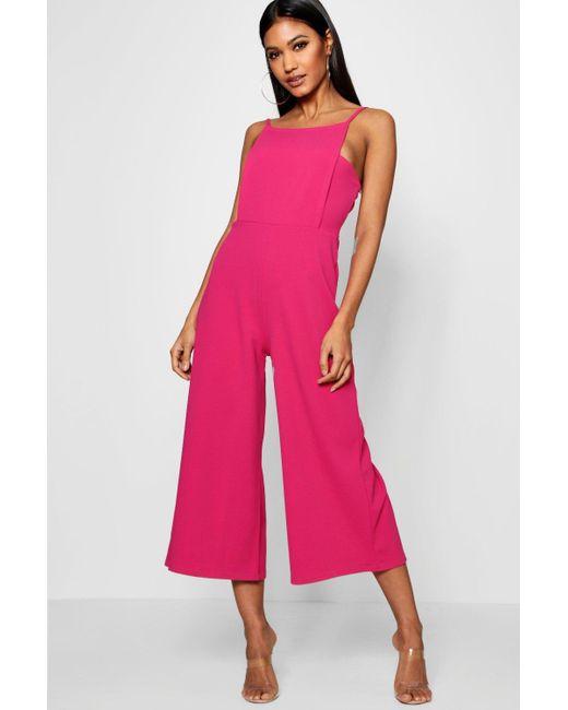6e079bae600e Boohoo - Pink Square Neck Culotte Jumpsuit - Lyst ...