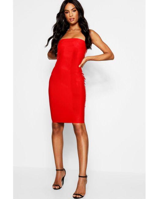 6ff5023d5 Boohoo - Red Tall Vinyl Bandeau Mini Dress - Lyst ...