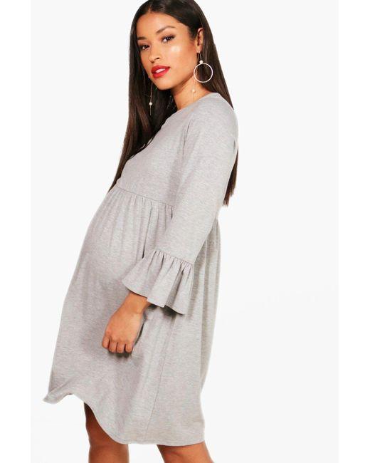 Boohoo - Gray Maternity Ruffle Smock Dress - Lyst