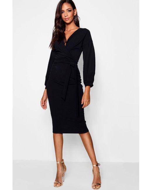 5c8981e68bc4 Boohoo - Black Tall Off The Shoulder Wrap Midi Bodycon Dress - Lyst ...
