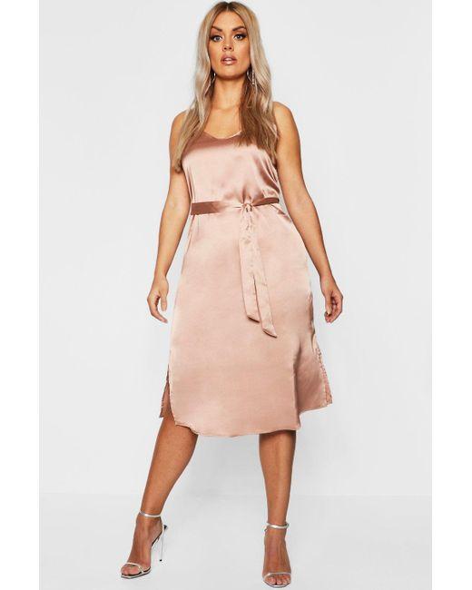c29caaef9b08 Boohoo - Pink Plus Satin Belted Midi Dress - Lyst ...