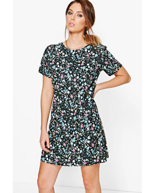 Boohoo | Black Aiyana Floral Printed Woven Shift Dress | Lyst