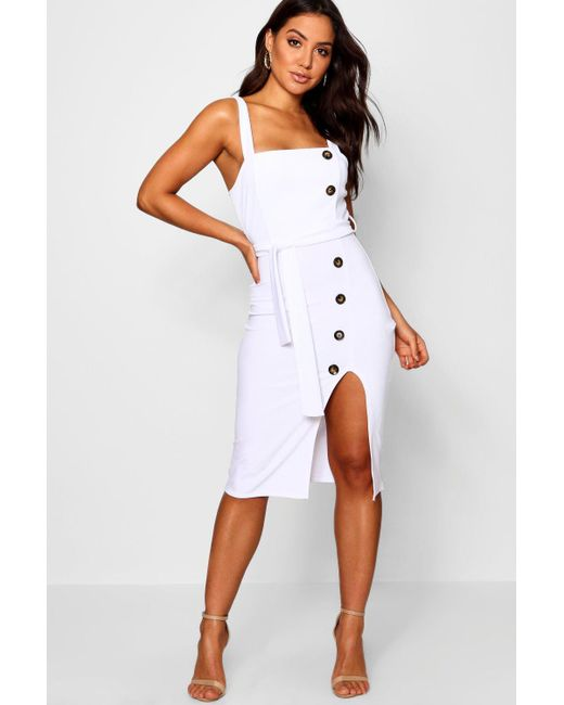 ea9b5cefc9b Boohoo - White Button Detail Square Neck Midi Dress - Lyst ...