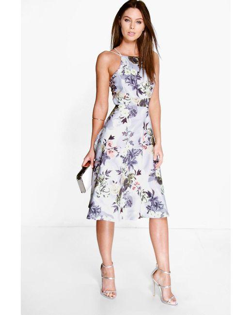 f04a8b74c59e Boohoo - Gray Floral Print Strappy Full Skater Dress - Lyst ...