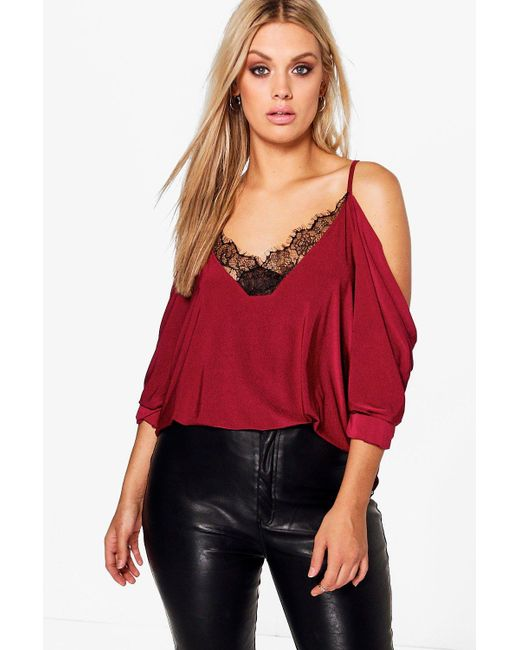 Boohoo - Red Plus Lace Trim V Neck Cold Shoulder Top - Lyst
