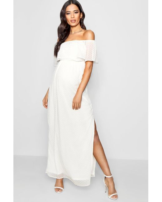 d9db53562dc8b Boohoo - White Maternity Off Shoulder Dobby Spot Maxi Dress - Lyst ...