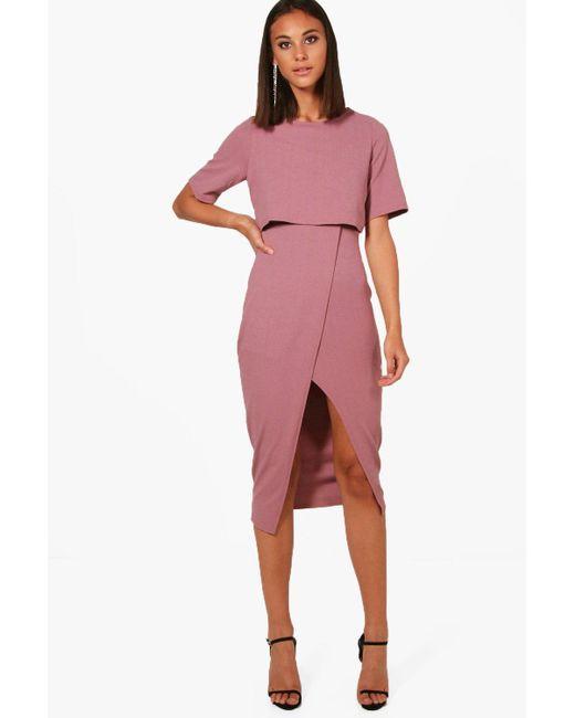 Boohoo - Purple Layered Wrap Wiggle Midi Dress - Lyst