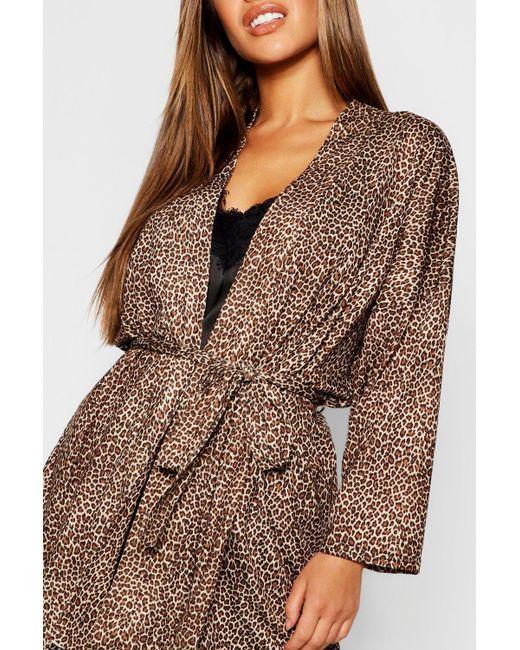 66be55dce430 ... Boohoo - Brown Petite Leopard Print Robe - Lyst