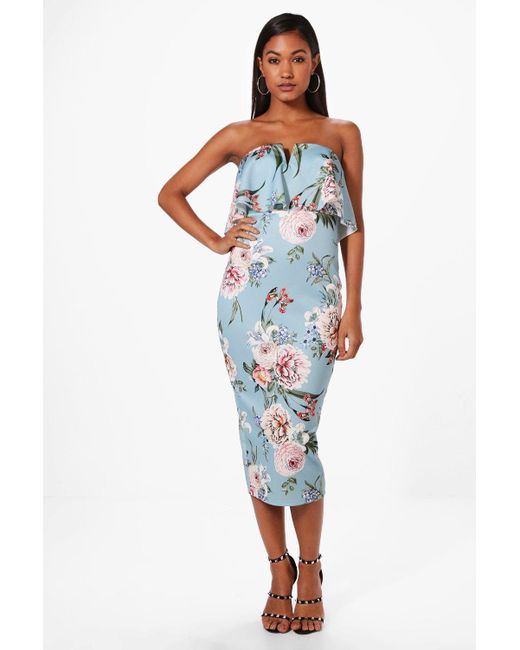 Clearance Low Shipping Boohoo Floral Print panelled Ruffle Hem Midi Dress Grey Outlet Store Online Discount Wide Range Of 6UzZiFrxV5