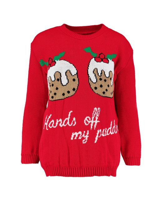 332770c785102 ... Boohoo - Red Christmas Pudding Jumper - Lyst ...