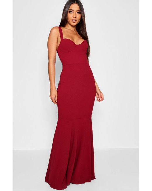 0c7982e58a65 Boohoo - Red Bustier Detail Fishtail Maxi Dress - Lyst ...