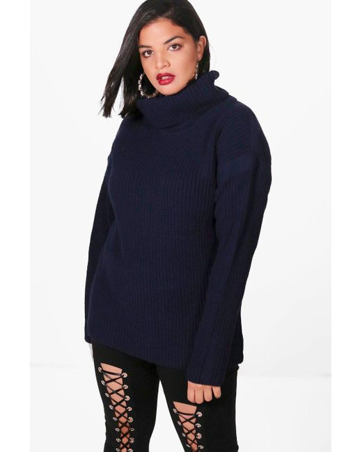 Boohoo | Blue Plus Kate Tape Detail Roll Neck Jumper | Lyst