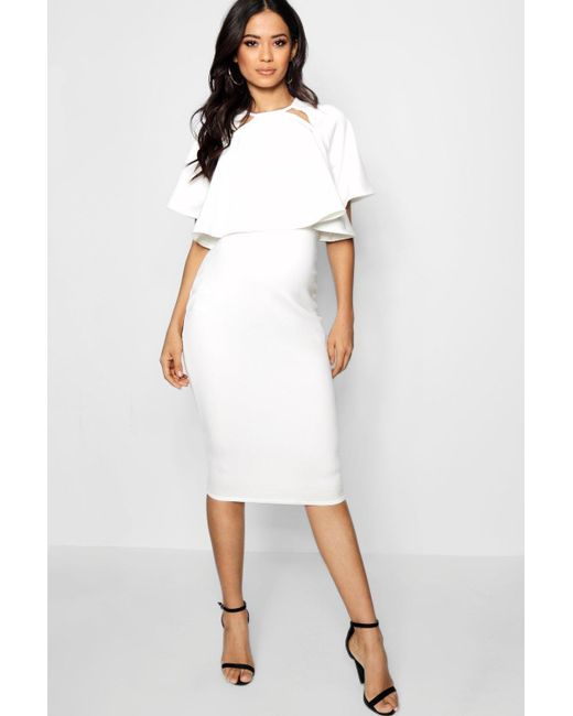Boohoo - White Maternity Double Layer Wiggle Dress - Lyst
