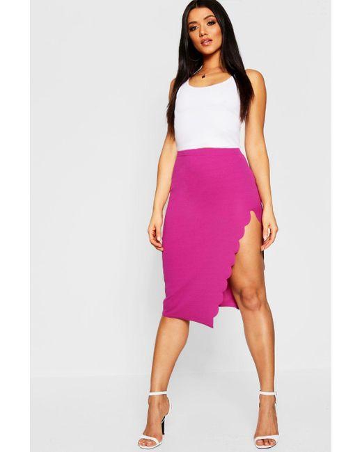 Boohoo - Purple Scallop Trim Split Midi Skirt - Lyst