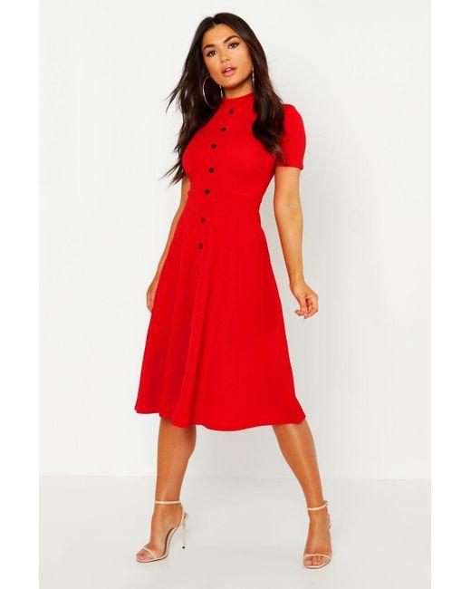 b49ea4da4d6f Boohoo - Red High Neck Button Detail Skater Dress - Lyst ...