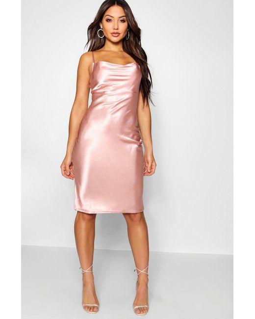 Image result for Satin Cowl Neck Midi Slip Dress