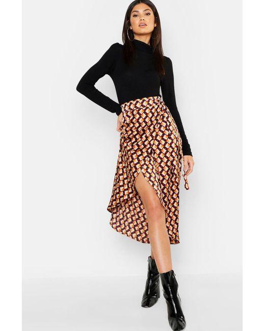 d95b751cb8eec Boohoo - Multicolor Geo Print Satin Wrap Midaxi Skirt - Lyst ...