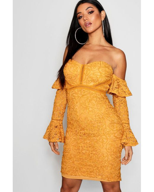 bb570874adca Boohoo - Yellow Lace Off The Shoulder Frill Detail Midi Dress - Lyst ...