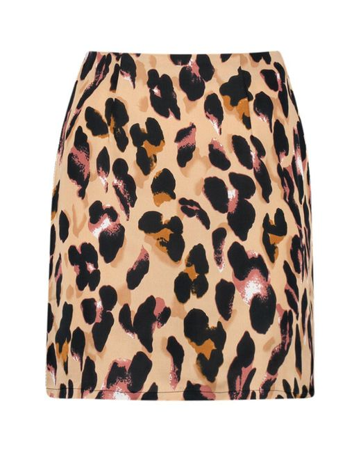 9b0fc0f33 ... Boohoo - Multicolor Satin Leopard Print Mini Skirt - Lyst