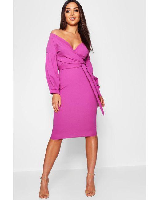 c4f94aa8664d Boohoo - Purple Off The Shoulder Wrap Midi Dress - Lyst ...
