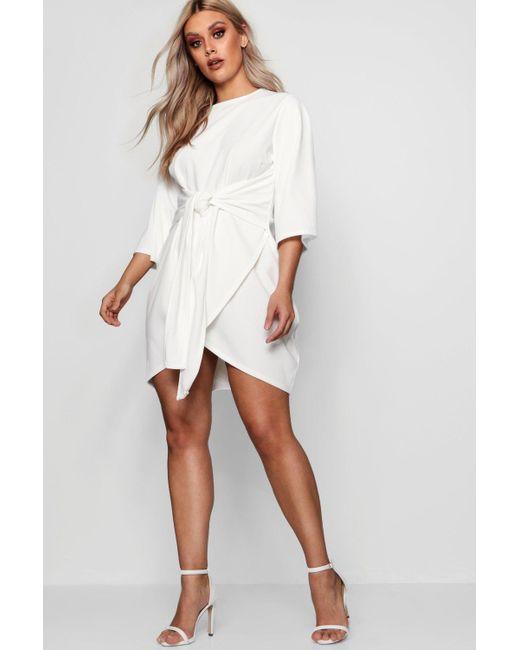 a9db9d5cb23fc Boohoo - White Plus Kimono Sleeve Tie Waist Wrap Dress - Lyst ...