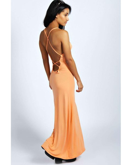 Boohoo | Orange Tilly Strappy Back Detail Maxi Dress | Lyst