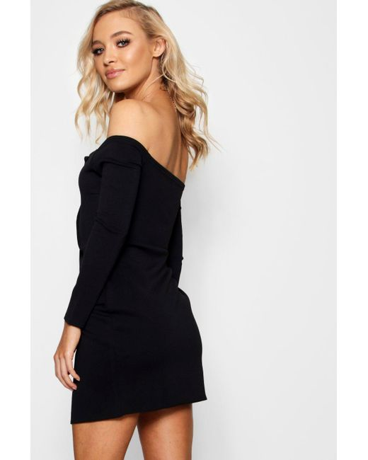 a8524892d3dca ... Boohoo - Green Off The Shoulder Blazer Bodycon Dress - Lyst