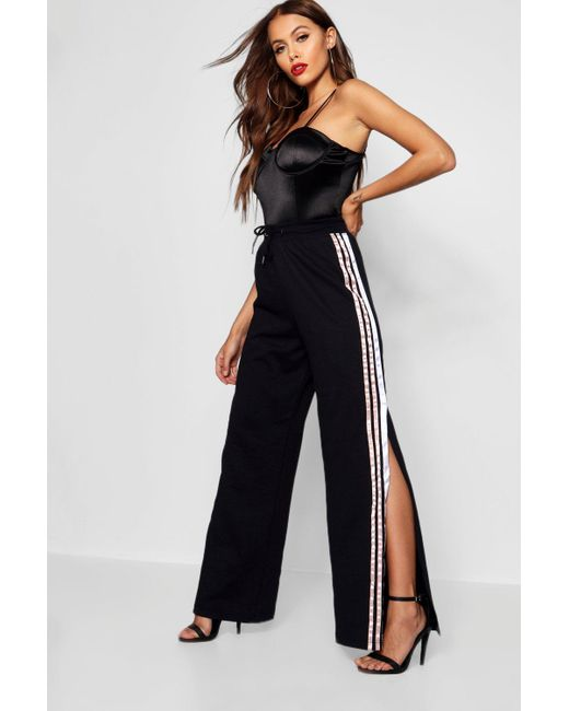 Boohoo - Black Satin Sports Stripe Sweat Pants - Lyst