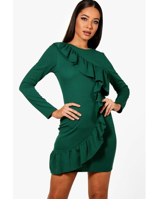 Boohoo - Green Nyla Ruffle Front Long Sleeved Bodycon Dress - Lyst