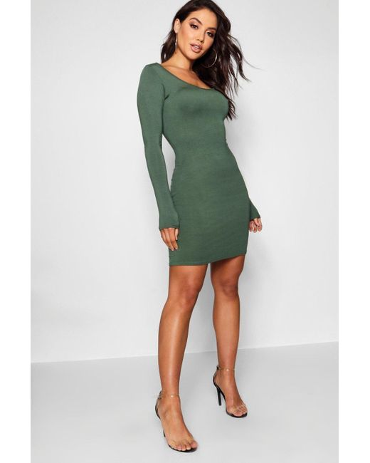 8eb139bb42d Boohoo - Multicolor Long Sleeve Scoop Neck Bodycon Dress - Lyst ...
