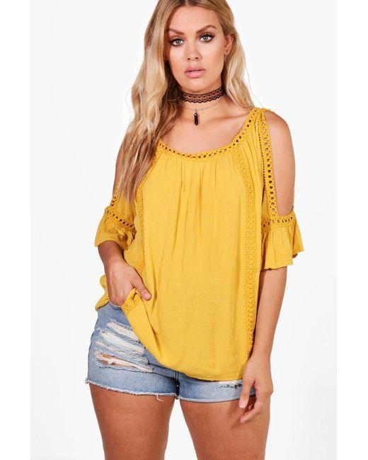 Boohoo - Yellow Plus Cold Shoulder Crochet Trim Top - Lyst