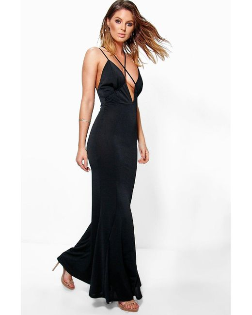 Boohoo | Black Fiona Strappy Detail Fishtail Maxi Dress | Lyst