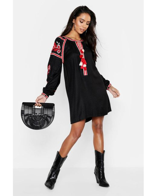 8ed9178c33 Boohoo - Black Heavily Embroidered Bohemian Smock Dress - Lyst ...