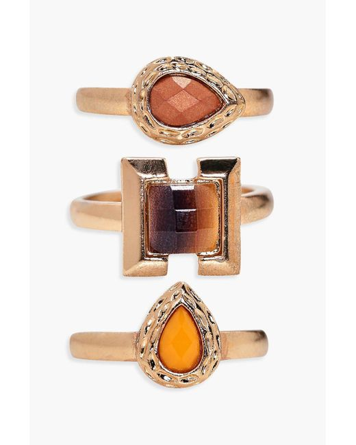 Boohoo | Metallic Lacey Mixed Stone Ring 3 Pack | Lyst
