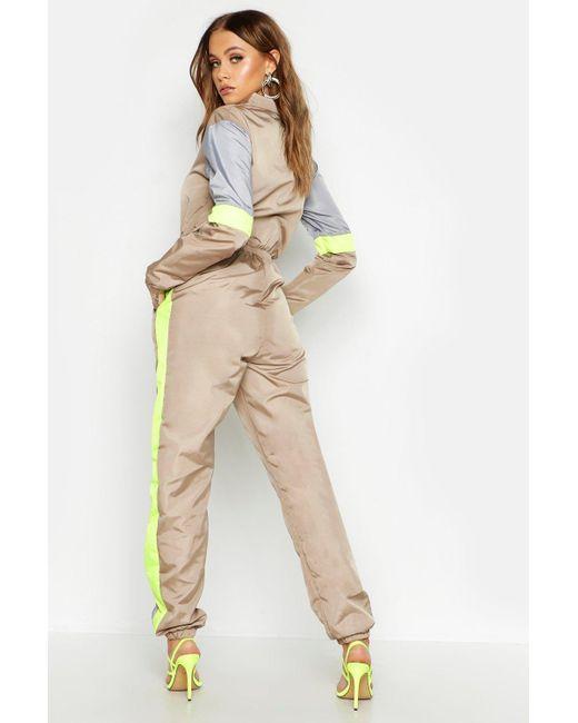 b198a034194 ... Boohoo - Natural Colour Block Shell Jumpsuit - Lyst ...