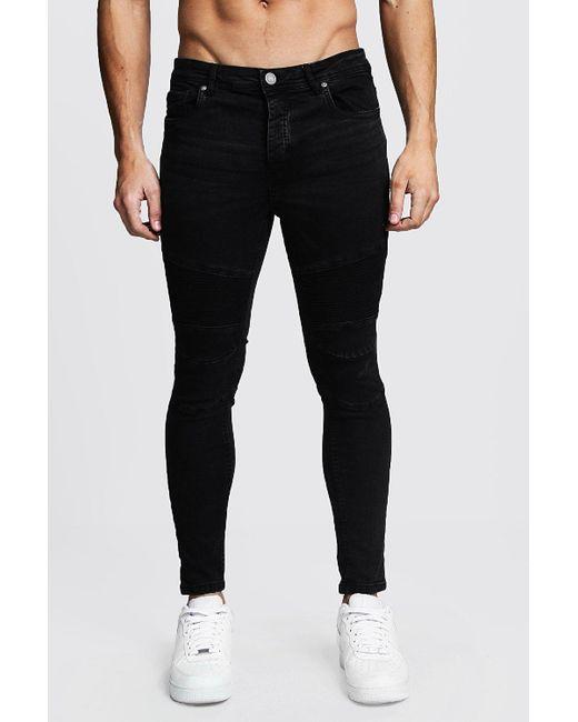 ac7b17c0b515a Boohoo - Black Charcoal Wash Skinny Fit Biker Jeans for Men - Lyst ...