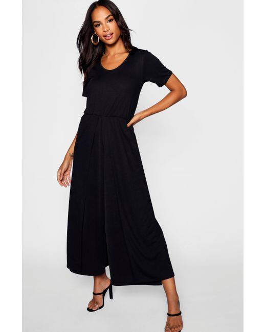 1d4d899d3fe0 Boohoo - Black Tall 3⁄4 Sleeve Split Leg Culotte Jumpsuit - Lyst ...