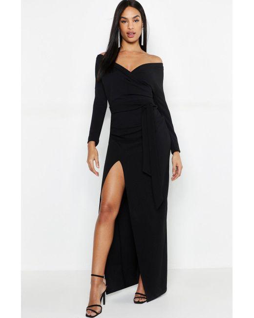 8dd0ef3568a63 Boohoo Tall Off The Shoulder Thigh Split Maxi Dress in Black - Save ...