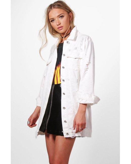 Boohoo | White Jilly Longline Paint Splatter Denim Jacket | Lyst