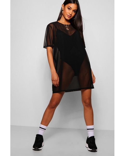 d44d3f158f Boohoo - Black Oversized Mesh T-shirt Dress - Lyst ...
