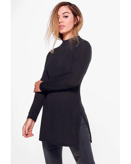 Boohoo - Black Petite Amy High Neck Soft Knit Side Split Tunic - Lyst